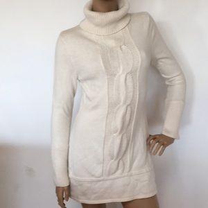 Cream Oatmeal Cowl Neck Soft Knit Mini Dress S M